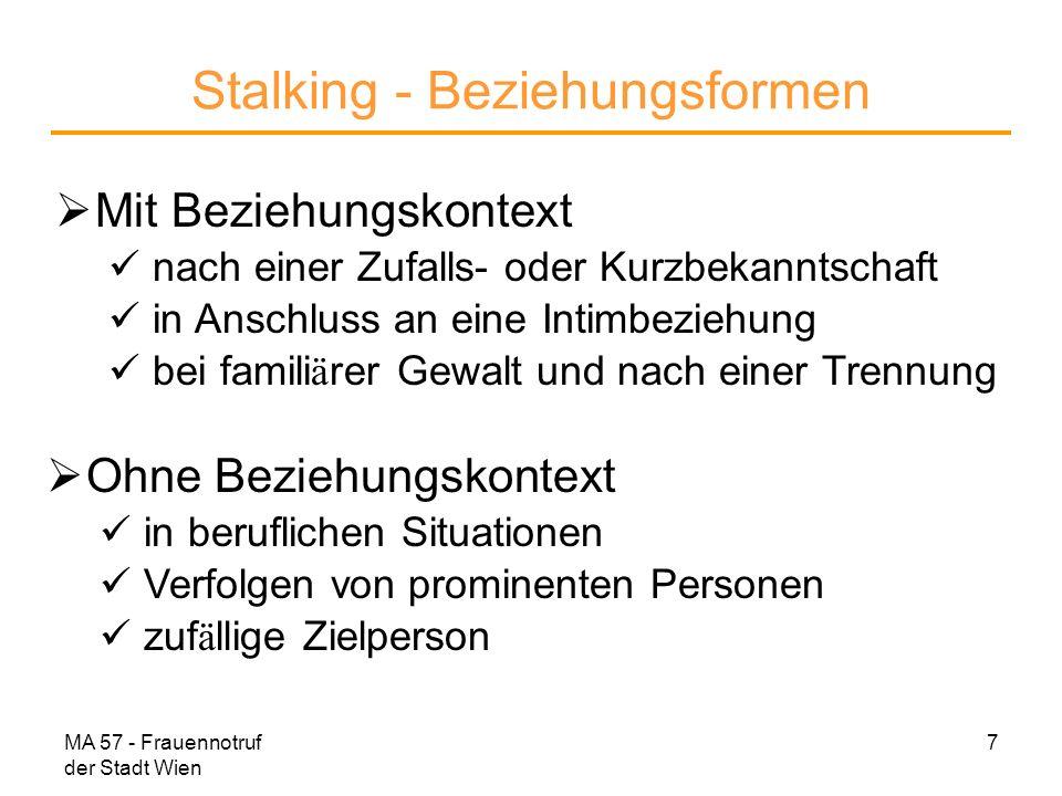 Stalking - Beziehungsformen
