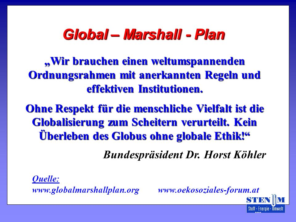 Global – Marshall - Plan