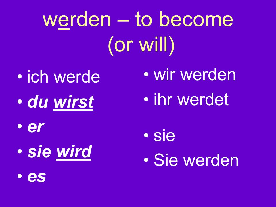 werden – to become (or will)