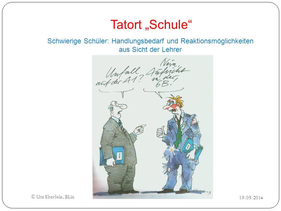 """Tatort """"Schule Schwierige Schüler: Handlungsbedarf und Reaktionsmöglichkeiten aus Sicht der Lehrer."""
