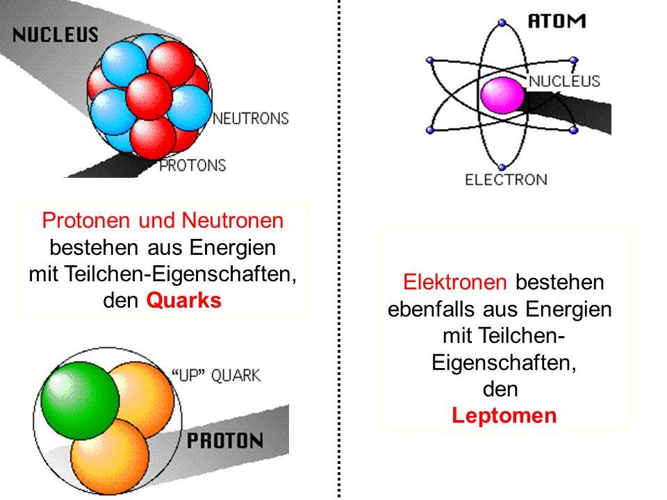 Elektronen bestehen ebenfalls aus Energien