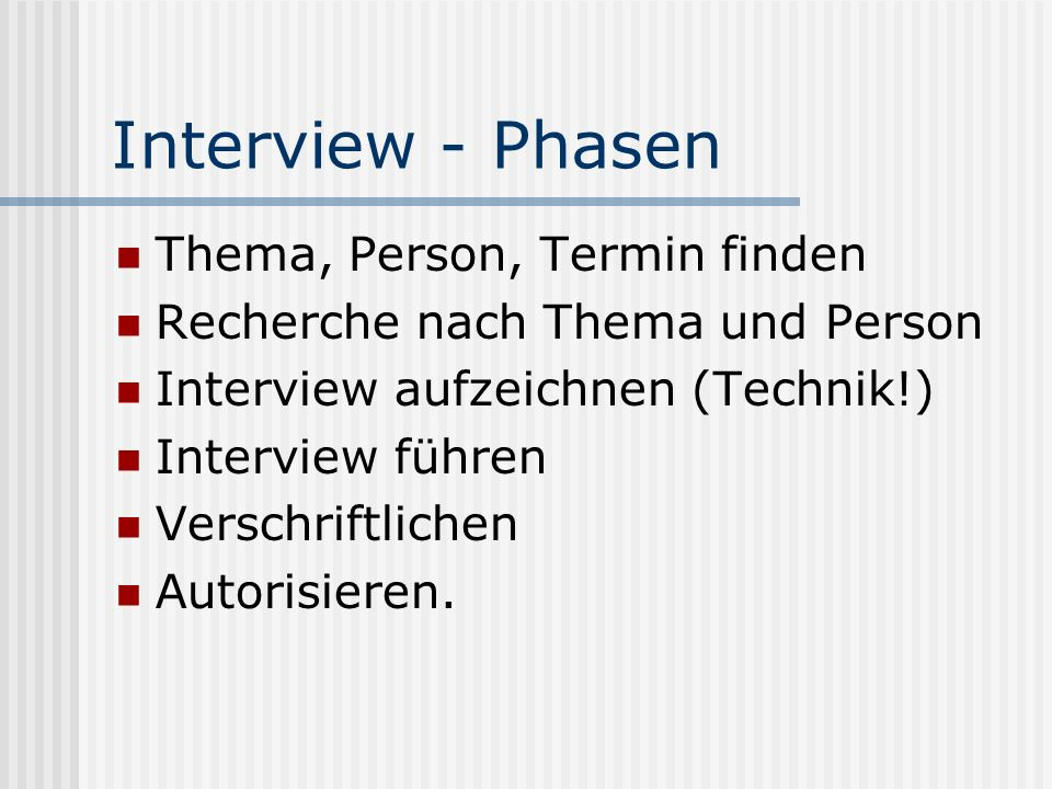 Interview - Phasen Thema, Person, Termin finden