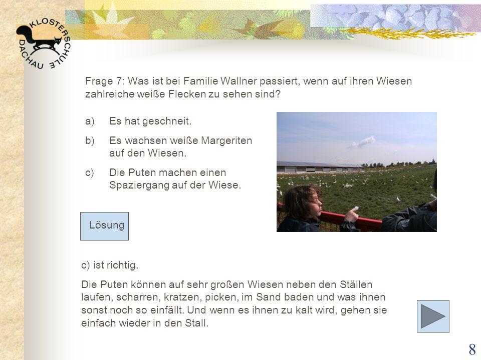 Frage 7: Was ist bei Familie Wallner passiert, wenn auf ihren Wiesen zahlreiche weiße Flecken zu sehen sind