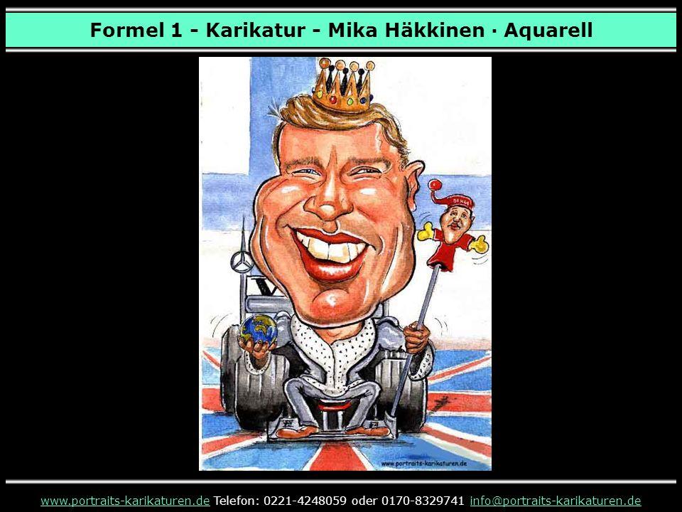 Formel 1 - Karikatur - Mika Häkkinen · Aquarell