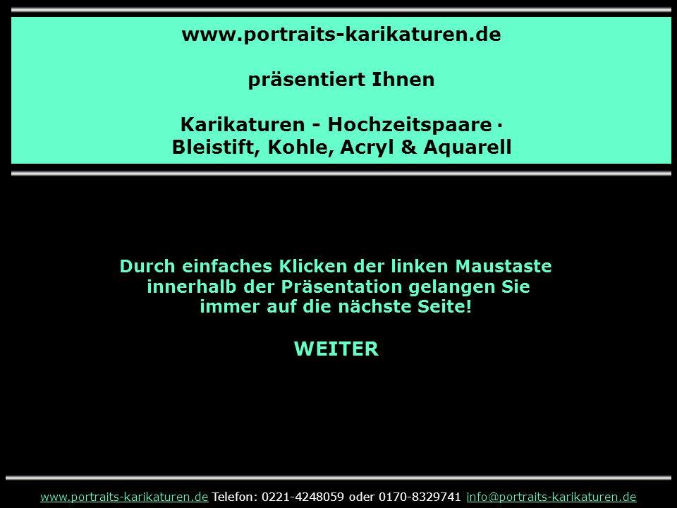 Karikaturen - Hochzeitspaare · Bleistift, Kohle, Acryl & Aquarell