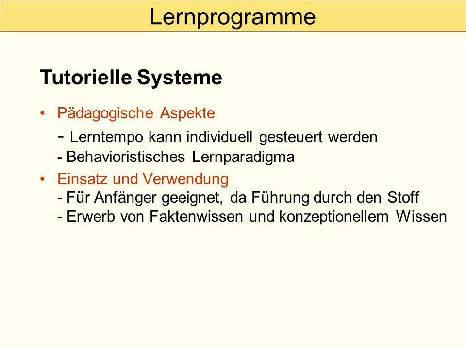 Lernprogramme Tutorielle Systeme