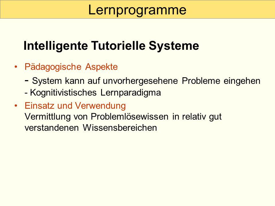Lernprogramme Intelligente Tutorielle Systeme
