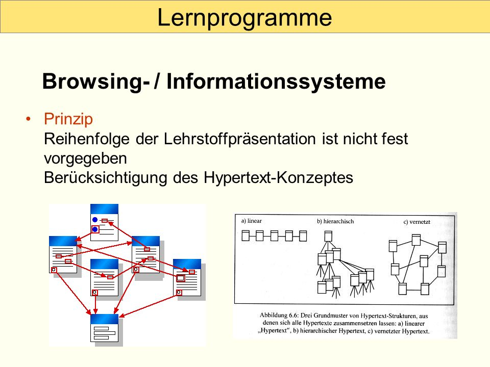 Lernprogramme Browsing- / Informationssysteme