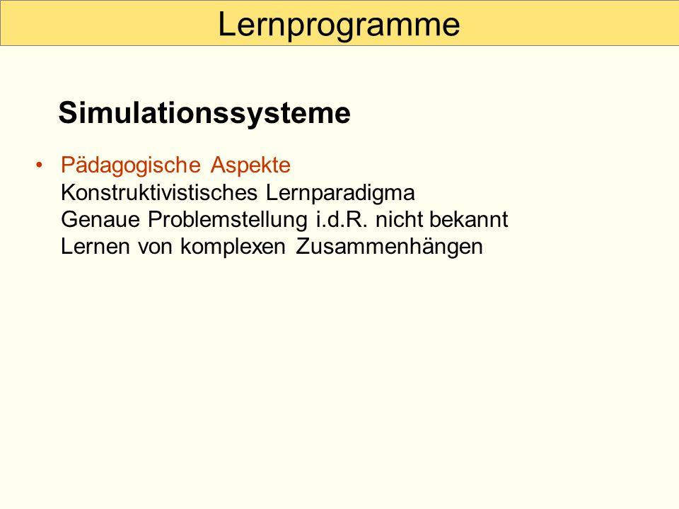 Lernprogramme Simulationssysteme