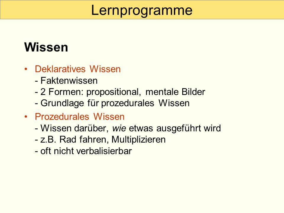 Lernprogramme Wissen. Deklaratives Wissen - Faktenwissen - 2 Formen: propositional, mentale Bilder - Grundlage für prozedurales Wissen.