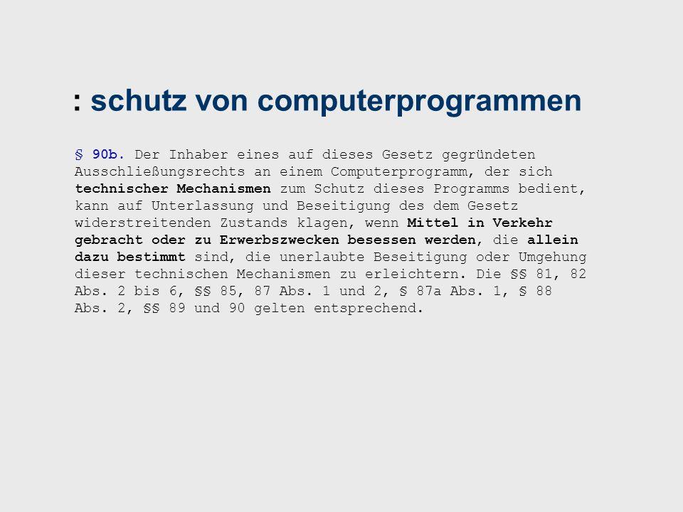 : schutz von computerprogrammen