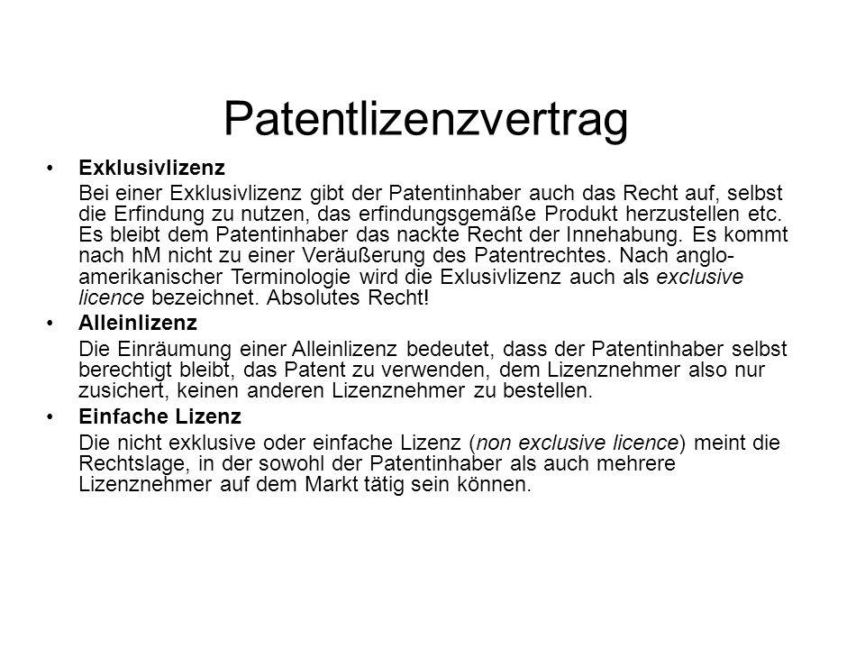 Patentlizenzvertrag Exklusivlizenz