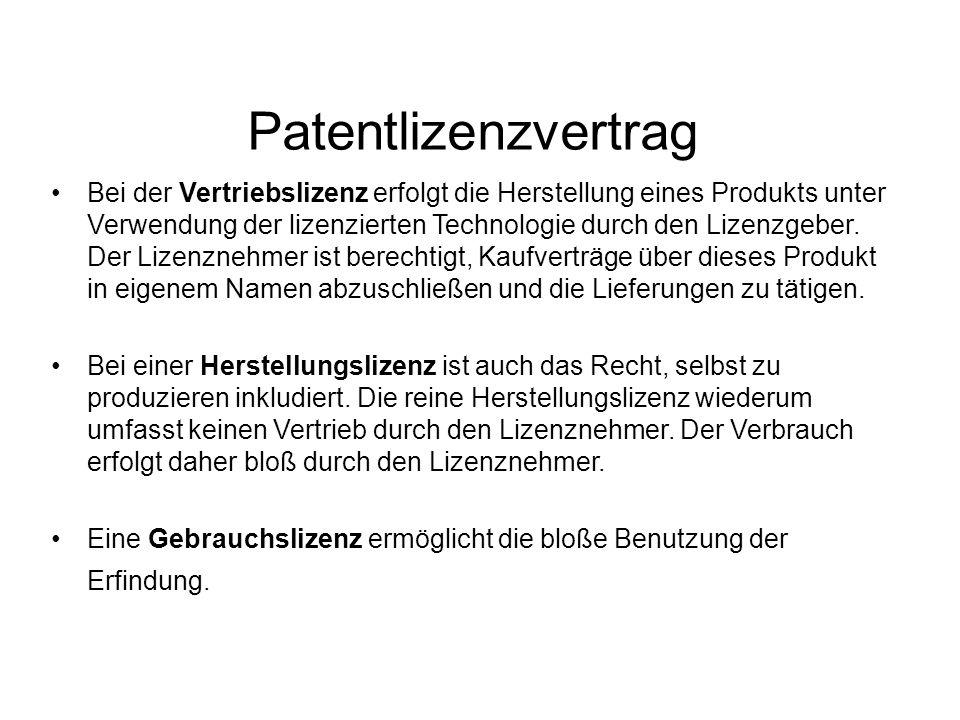Patentlizenzvertrag