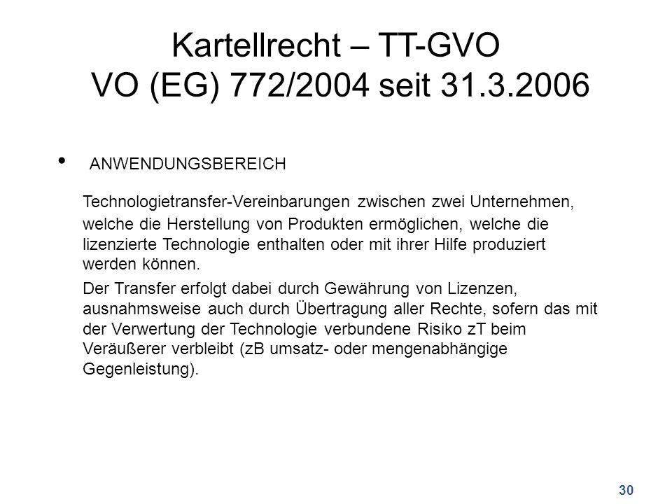 Kartellrecht – TT-GVO VO (EG) 772/2004 seit 31.3.2006