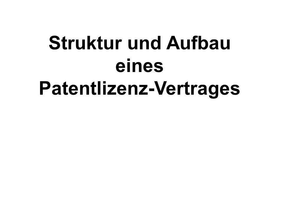 Struktur und Aufbau eines Patentlizenz-Vertrages