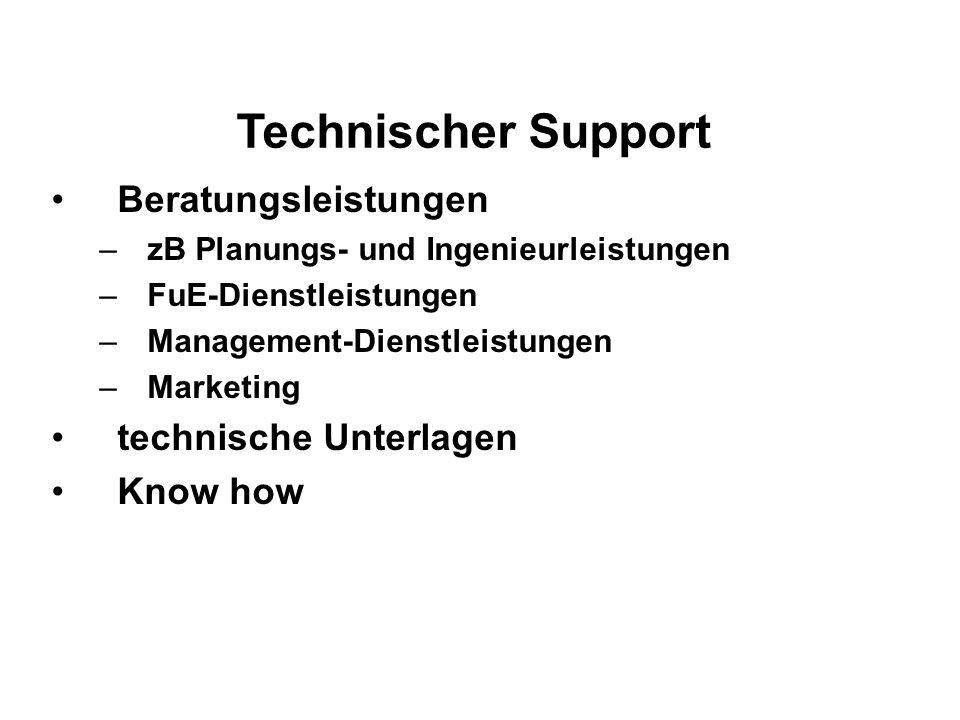 Technischer Support Beratungsleistungen technische Unterlagen Know how