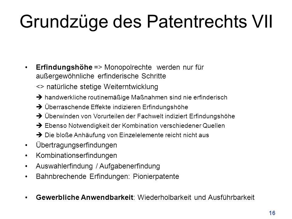 Grundzüge des Patentrechts VII
