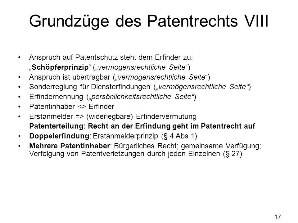 Grundzüge des Patentrechts VIII