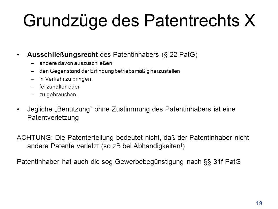 Grundzüge des Patentrechts X
