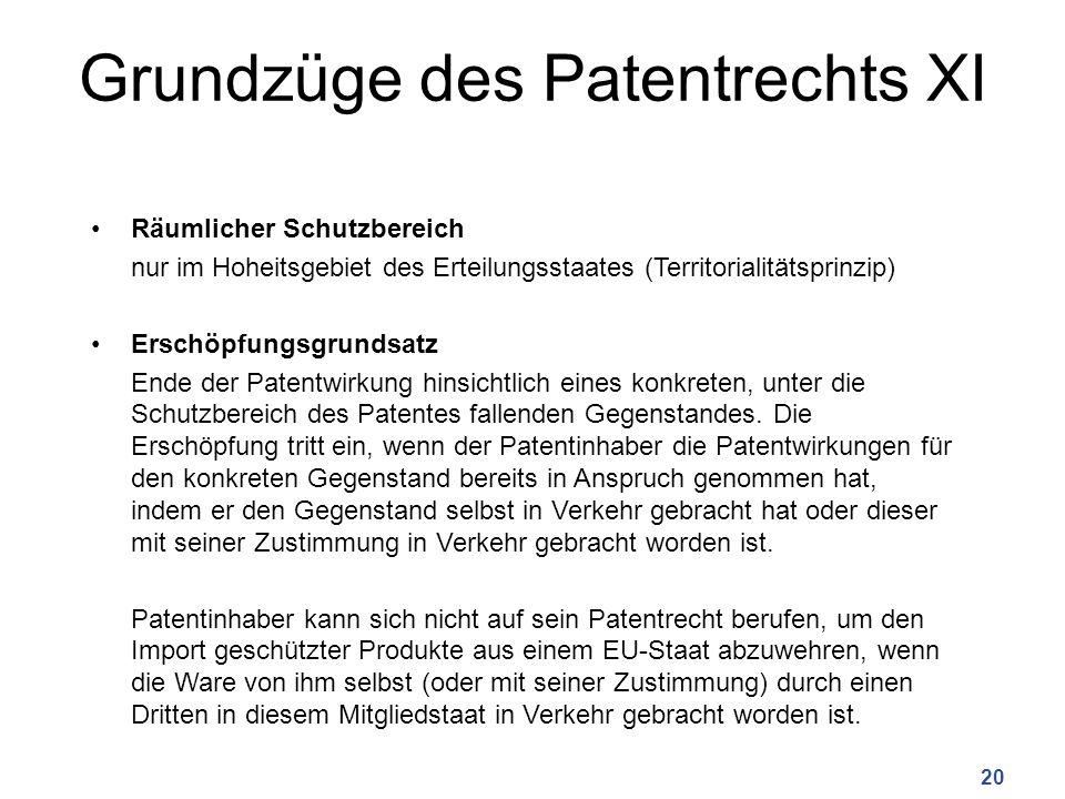 Grundzüge des Patentrechts XI