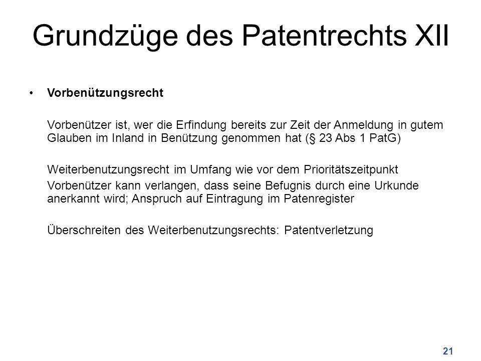 Grundzüge des Patentrechts XII