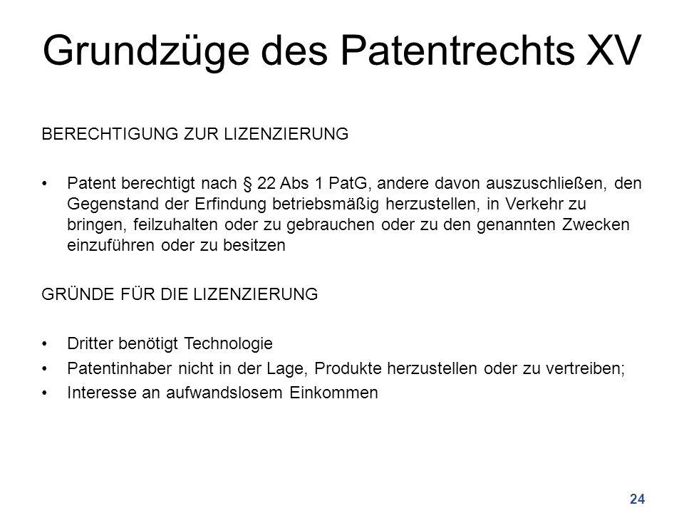 Grundzüge des Patentrechts XV