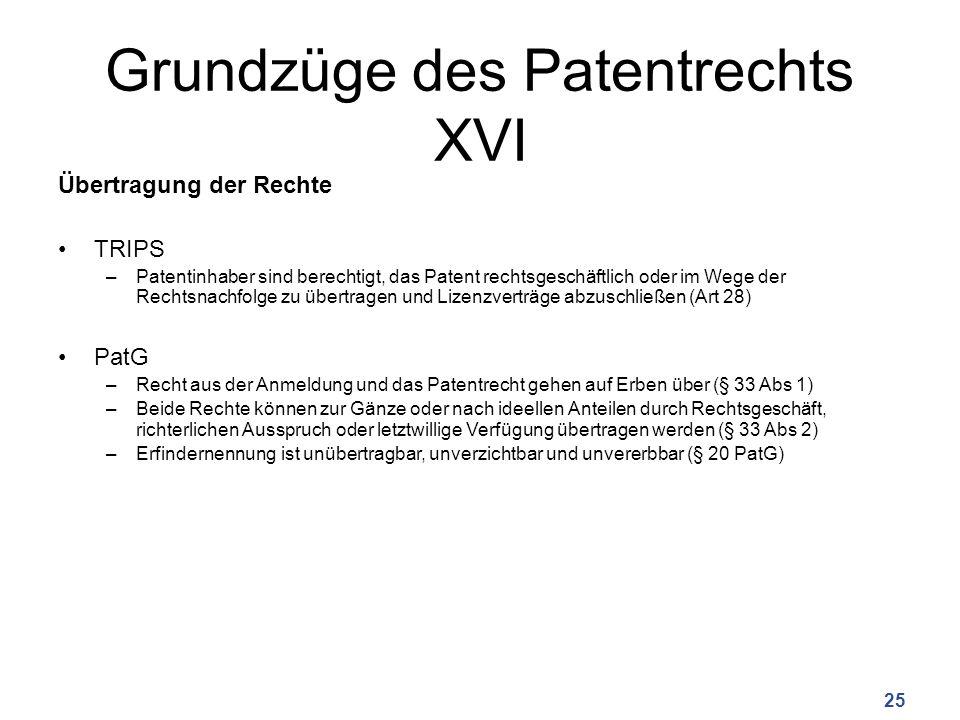 Grundzüge des Patentrechts XVI