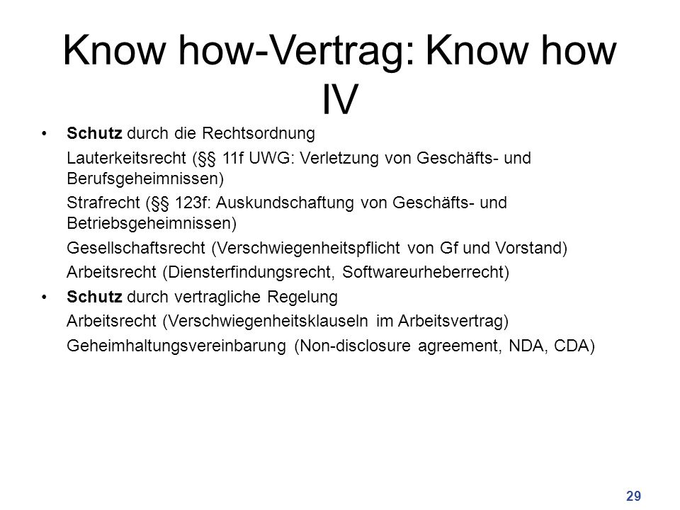 Know how-Vertrag: Know how IV