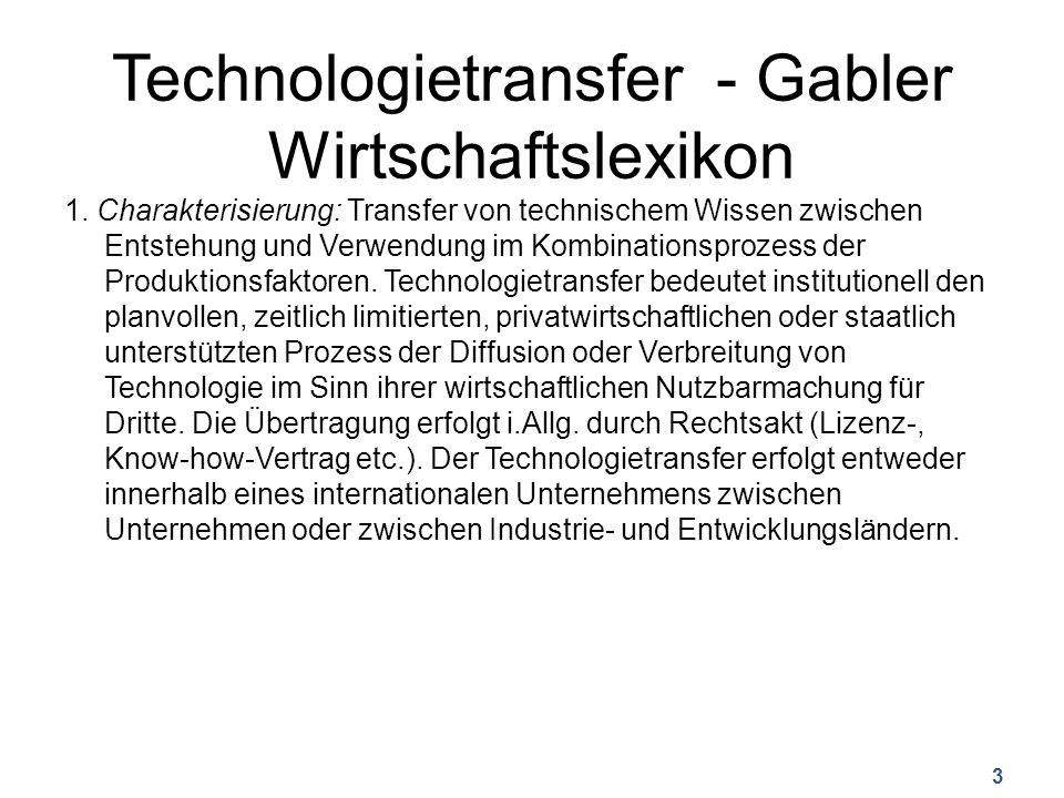 Technologietransfer - Gabler Wirtschaftslexikon