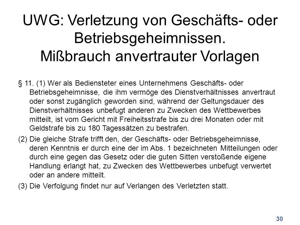 UWG: Verletzung von Geschäfts- oder Betriebsgeheimnissen