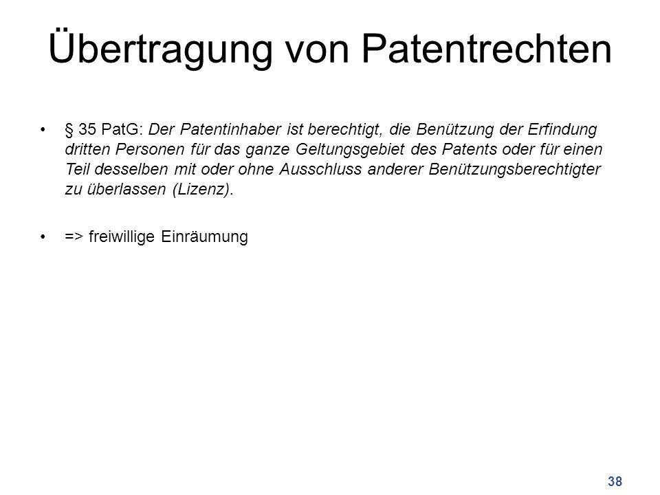 Übertragung von Patentrechten