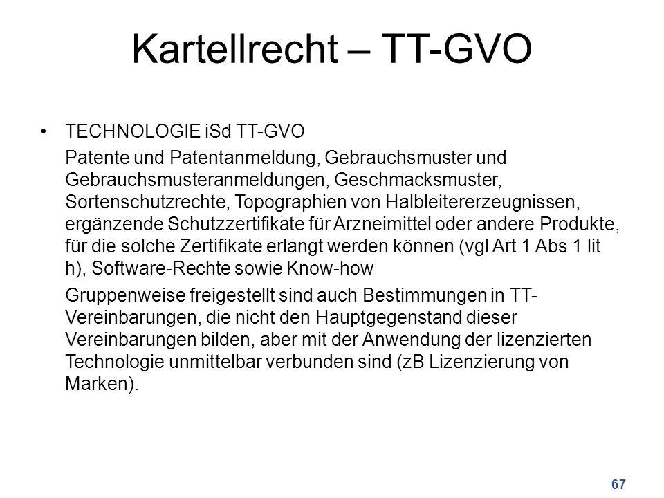 Kartellrecht – TT-GVO TECHNOLOGIE iSd TT-GVO