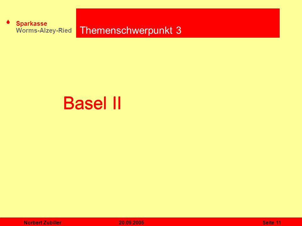 Themenschwerpunkt 3 Basel II Basel II Norbert Zubiller 20.09.2005