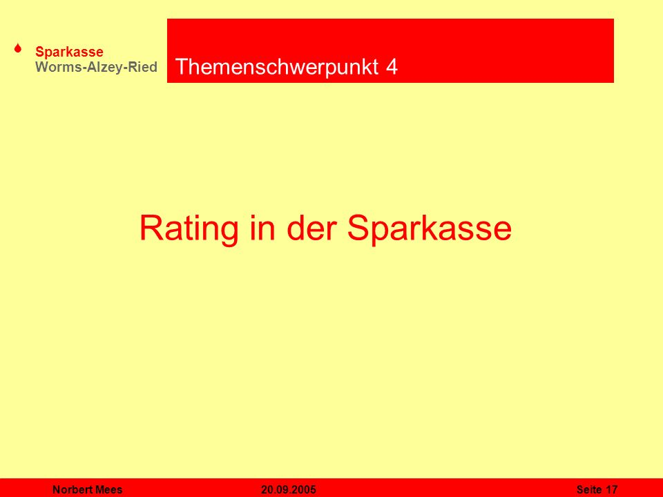 Rating in der Sparkasse