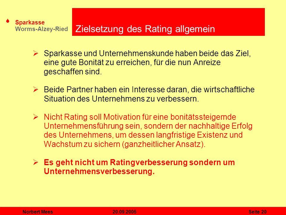 Zielsetzung des Rating allgemein