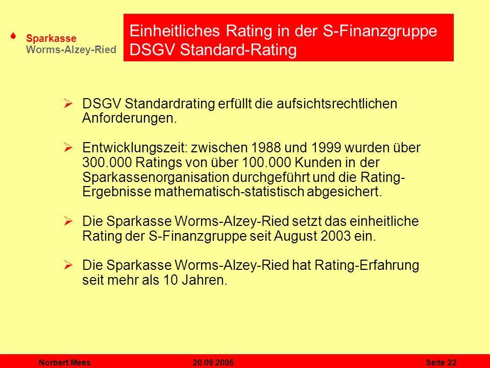 Einheitliches Rating in der S-Finanzgruppe DSGV Standard-Rating