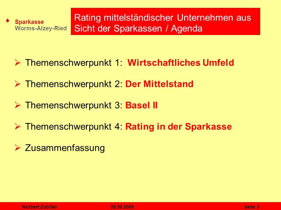 Rating mittelständischer Unternehmen aus Sicht der Sparkassen / Agenda