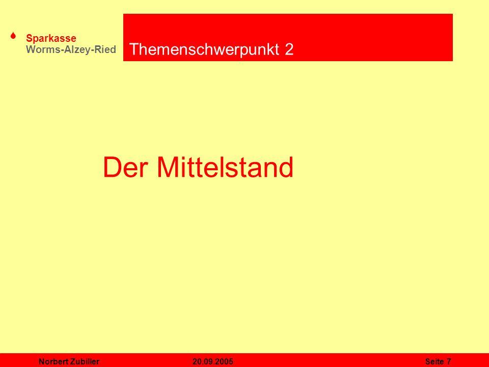 Themenschwerpunkt 2 Der Mittelstand Norbert Zubiller 20.09.2005