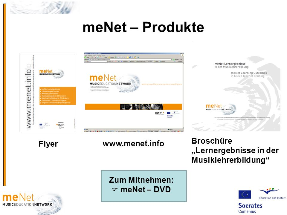 """meNet – Produkte Broschüre """"Lernergebnisse in der Musiklehrerbildung"""