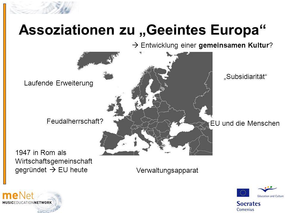"""Assoziationen zu """"Geeintes Europa"""