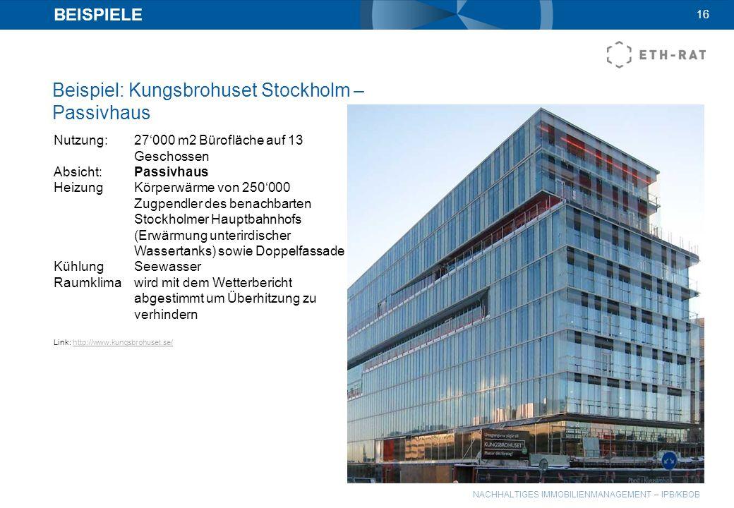 Beispiel: Kungsbrohuset Stockholm – Passivhaus