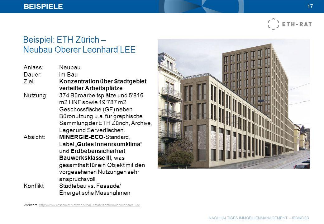 Beispiel: ETH Zürich – Neubau Oberer Leonhard LEE