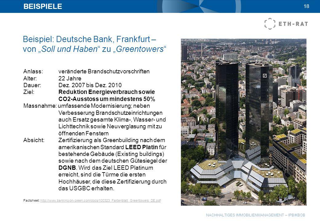"""BEISPIELE 18. Beispiel: Deutsche Bank, Frankfurt – von """"Soll und Haben zu """"Greentowers Anlass: veränderte Brandschutzvorschriften."""
