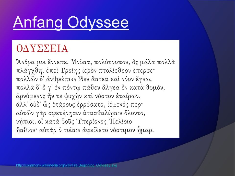 Anfang Odyssee