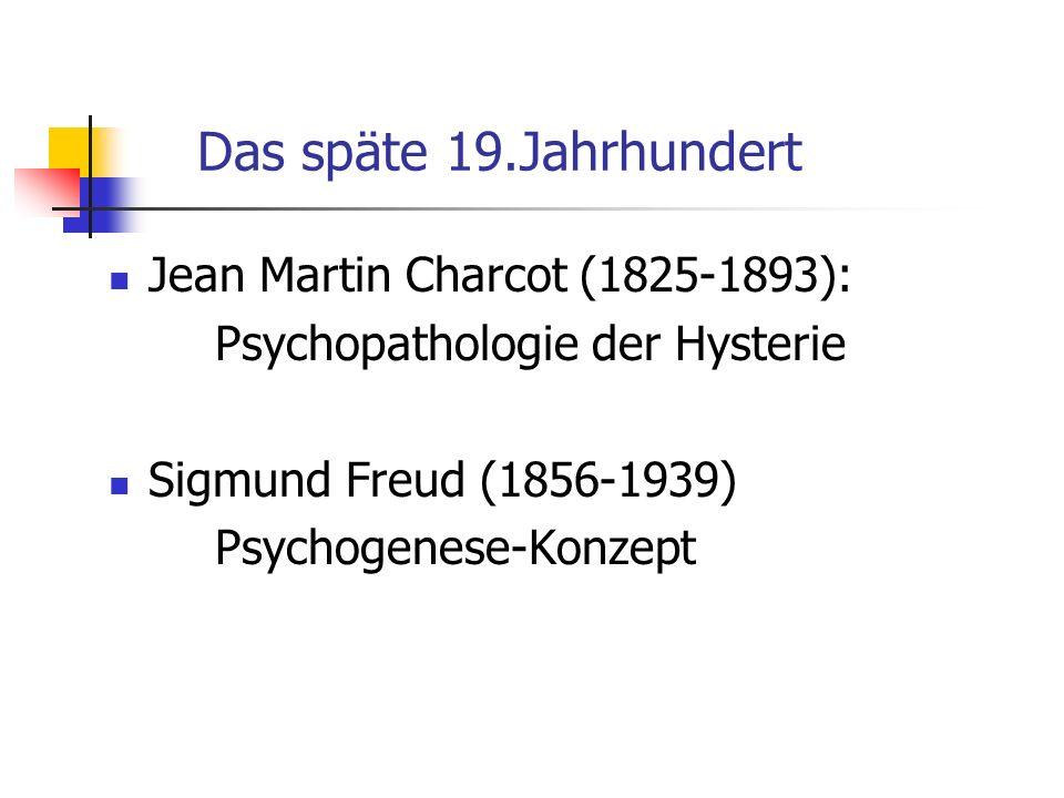 Das späte 19.Jahrhundert Jean Martin Charcot (1825-1893):
