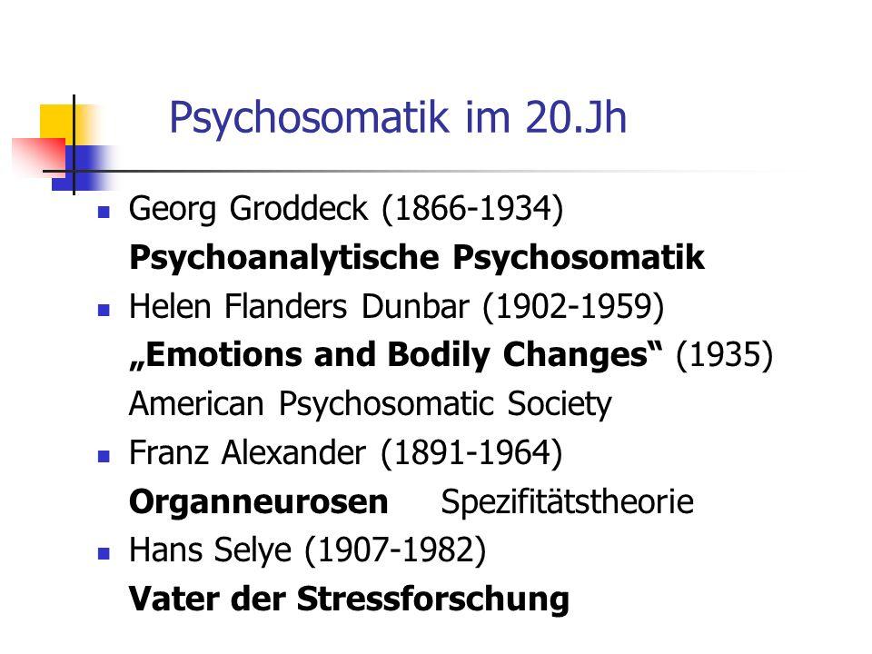 Psychosomatik im 20.Jh Georg Groddeck (1866-1934)