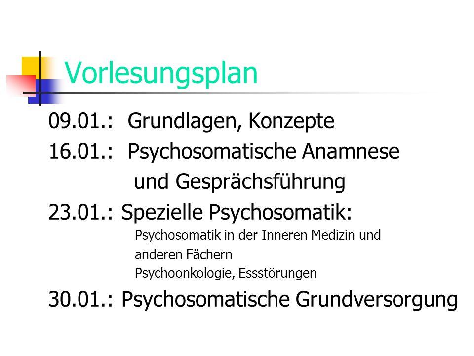 Vorlesungsplan 09.01.: Grundlagen, Konzepte