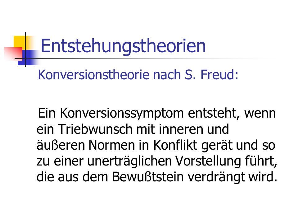 Entstehungstheorien Konversionstheorie nach S. Freud: