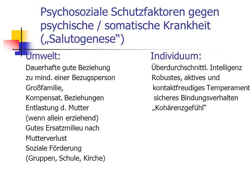 "Psychosoziale Schutzfaktoren gegen psychische / somatische Krankheit (""Salutogenese )"