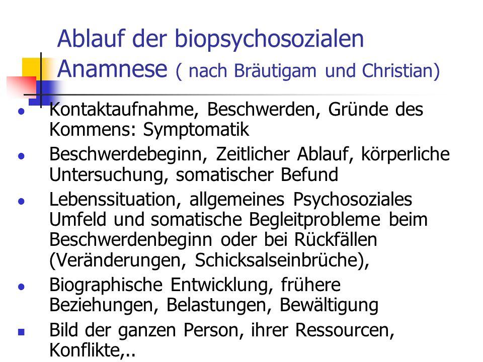 Ablauf der biopsychosozialen Anamnese ( nach Bräutigam und Christian)